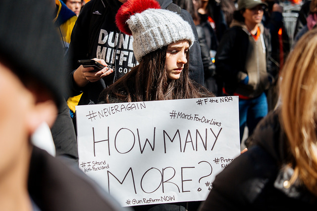March For Our Lives. Student led rally for gun control in the US. New York City, 2018 (Credit: Matthias Wasik, Flickr CC 2.0)