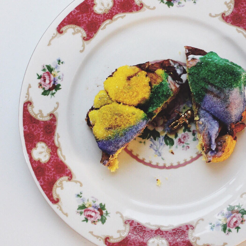 The caption on this one was all emojis all the way. That king cake speaks for itself: dreamy New Orleans!