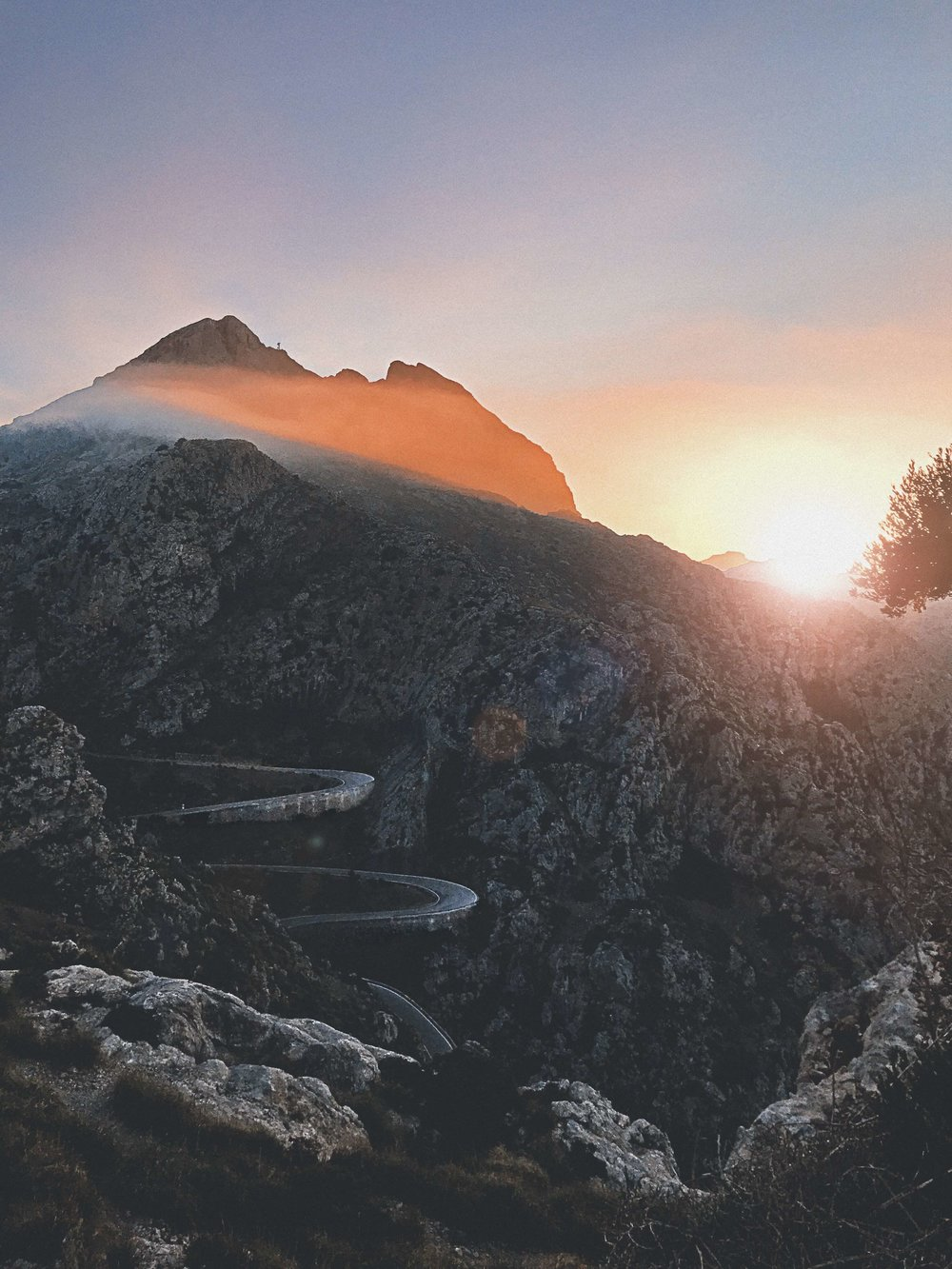 Mallorca mountains at sunset