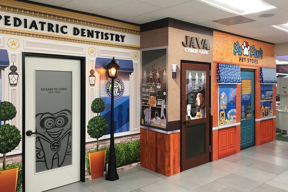 Hallway Main Street Theme for Pediatric Dental Office Murals