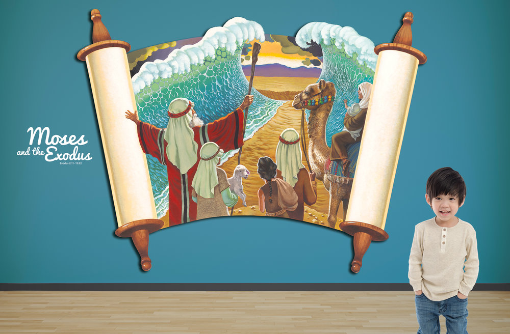 Children's Ministry Themed Biblical Theme Hallway Relief Illustrations