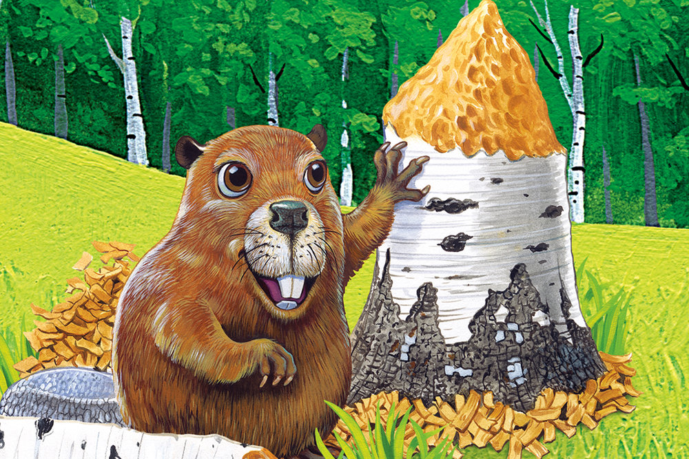 Custom Beaver Themed Wall Mural Character