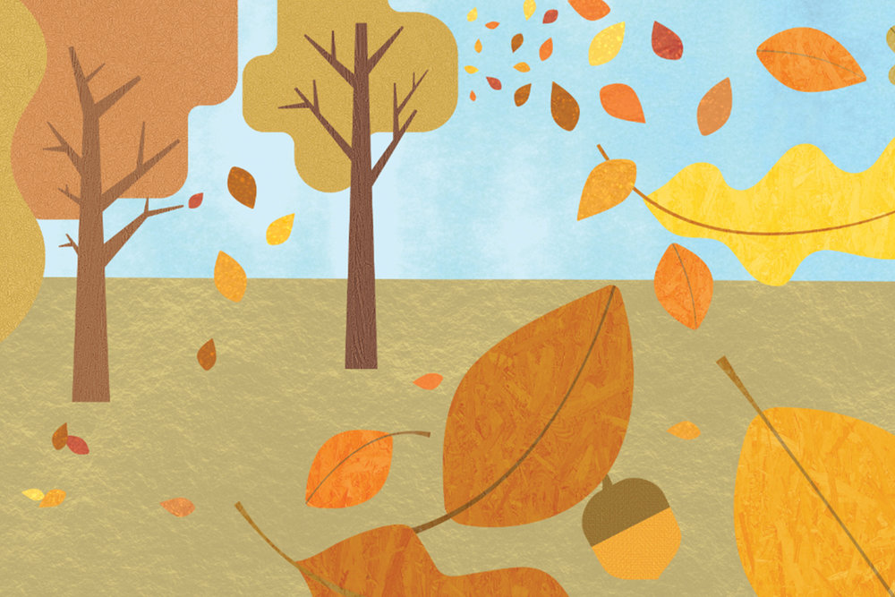 Close-Up of Fall Themed Wall Mural