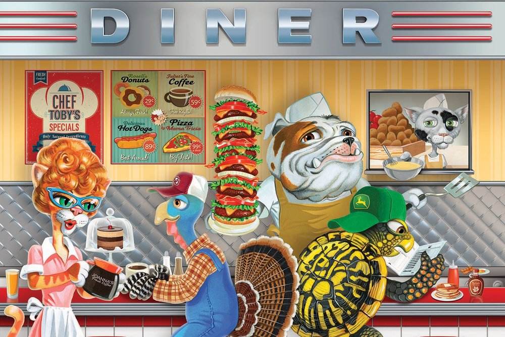Miniature Lucille's Diner with Local Animal Characters