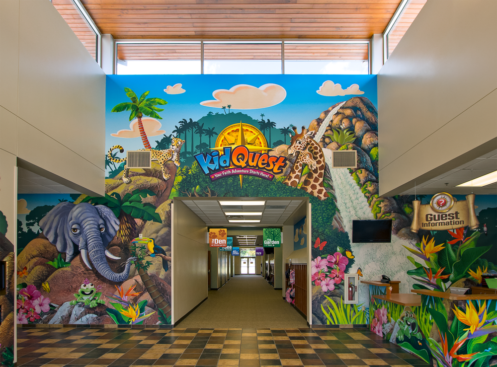 Kid Quest Themed Children's Ministry Jungle Themed Wall Mural