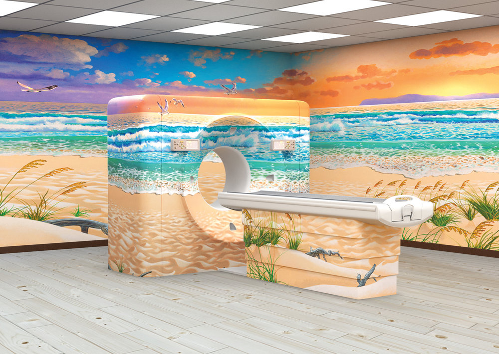Adult Beach Sunset Themed MRI Room