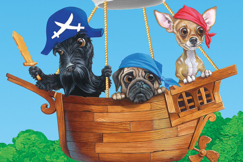Dog Pirate Characters From Northwood Wall Mural In Game Room