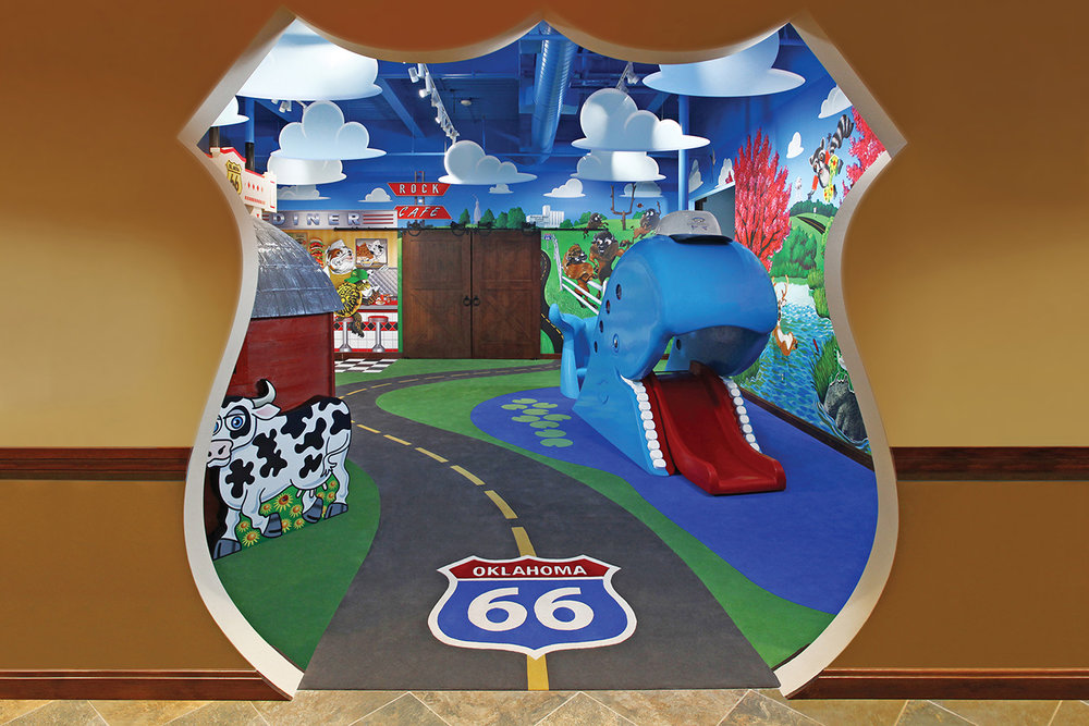 Welcoming Entrance To The Route 66 Themed Play Room