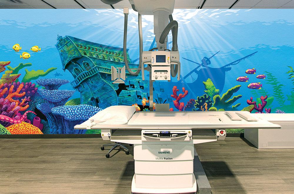 Custom Illustrated Underwater Rad Room Wall Mural