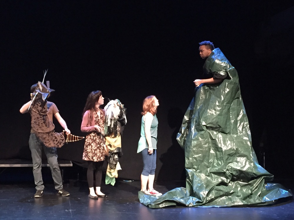 L to R: Richard Saudek, Amelia Pedlow, Emily Walton and Jordan Barbour in a June 2015 developmental open rehearsal.  Puppets by Amanda Villalobos.