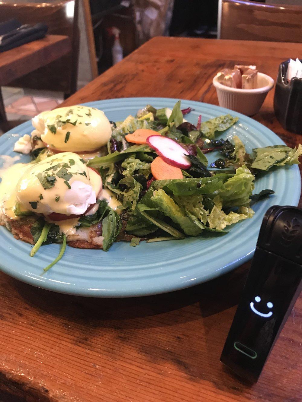 """Eggs """"florentine"""" on Gluten-free potato cakes 11/17/17"""