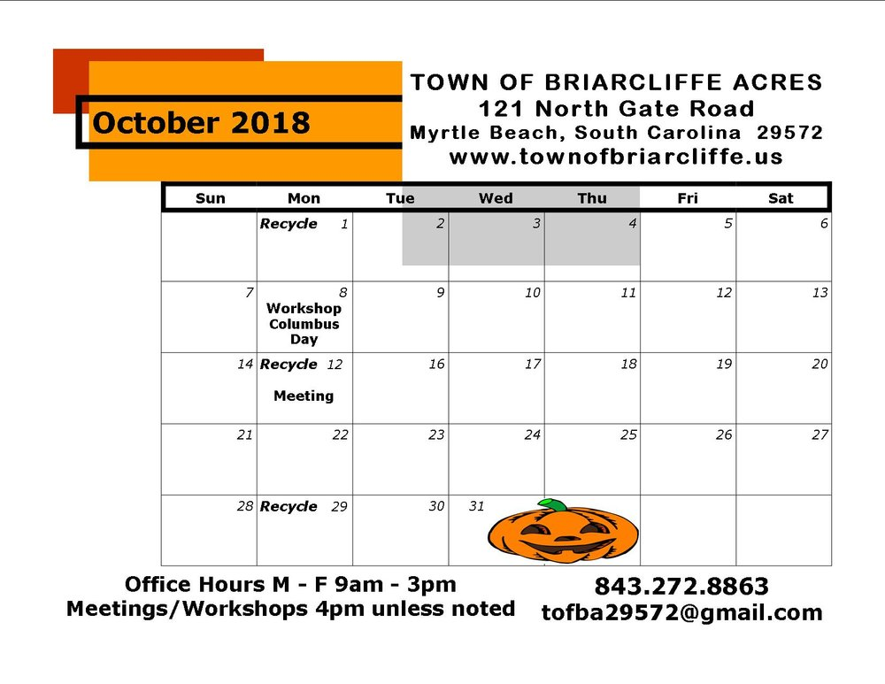 October Calendar Town Of Briarcliffe Acres