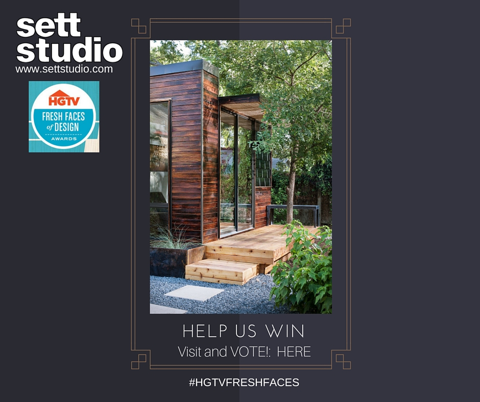To Vote for the fine folks at Sett Studio please visit HGTV's Fresh Faces of Design page HERE and look for their entry TINY BACKYARD HOME OFFICE, look through the images and then vote!