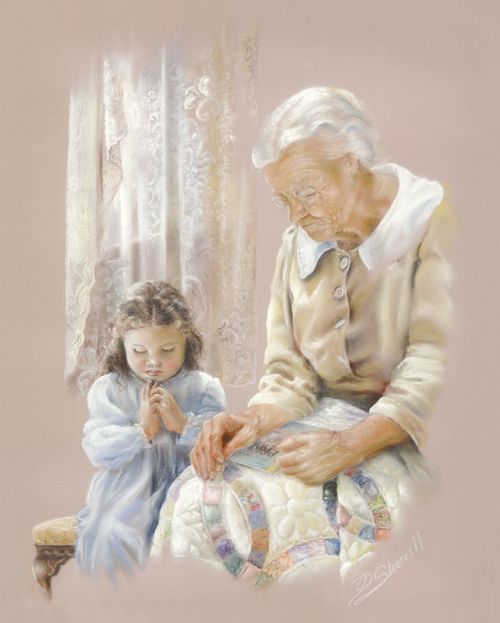 PRAYING GRANDMOTHER WITH CHILD AND QUILT