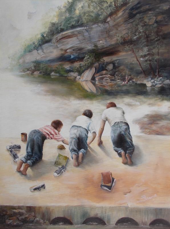 BARE FOOT KIDS IN SUMMER ON BRIDGE