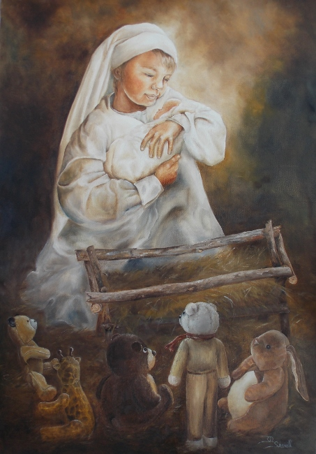 CHILD AND TOYS AT THE MANGER