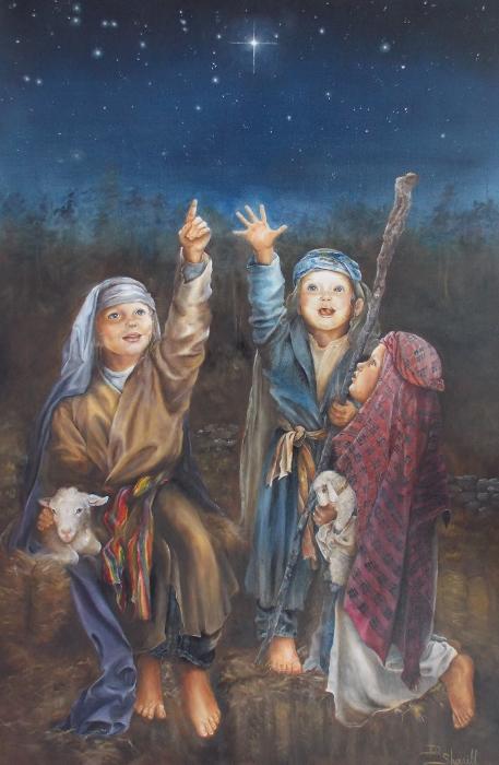 SHEPHERD CHILDREN SEE CHRISTMAS STAR