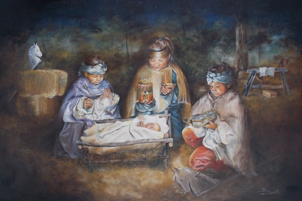CHILDREN WITH GIFTS FOR BABY JESUS IN MANGER