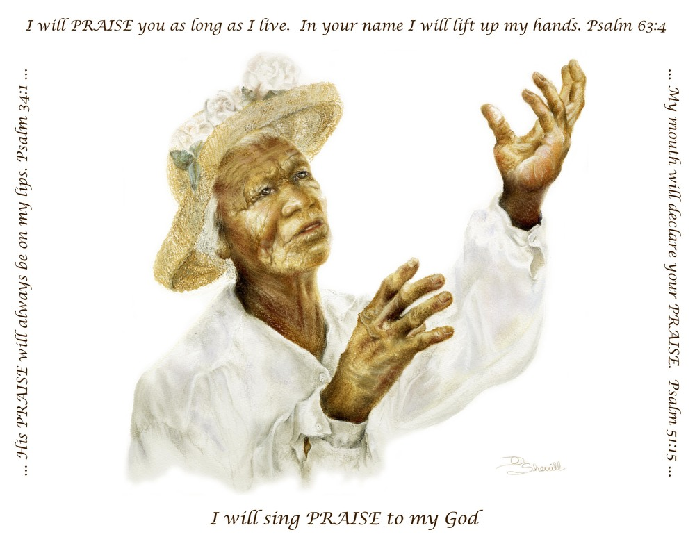 AFRICAN AMERICAN LADY PRAISING GOD WITH SCRIPTURE