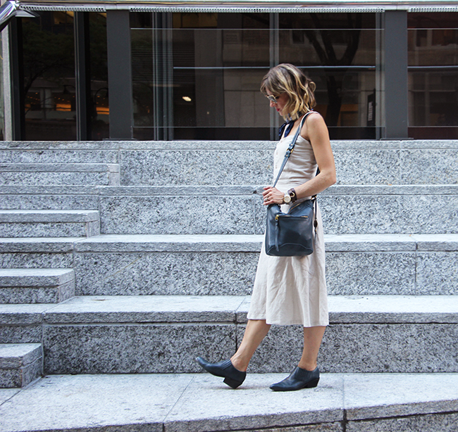 Linen Dress/vintage ankle booties