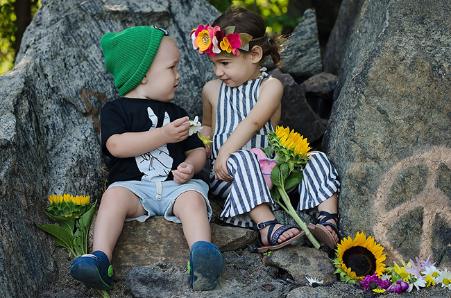 Babies in love // Sweet Mimi Studio flower crown and Harlow and Jade romper