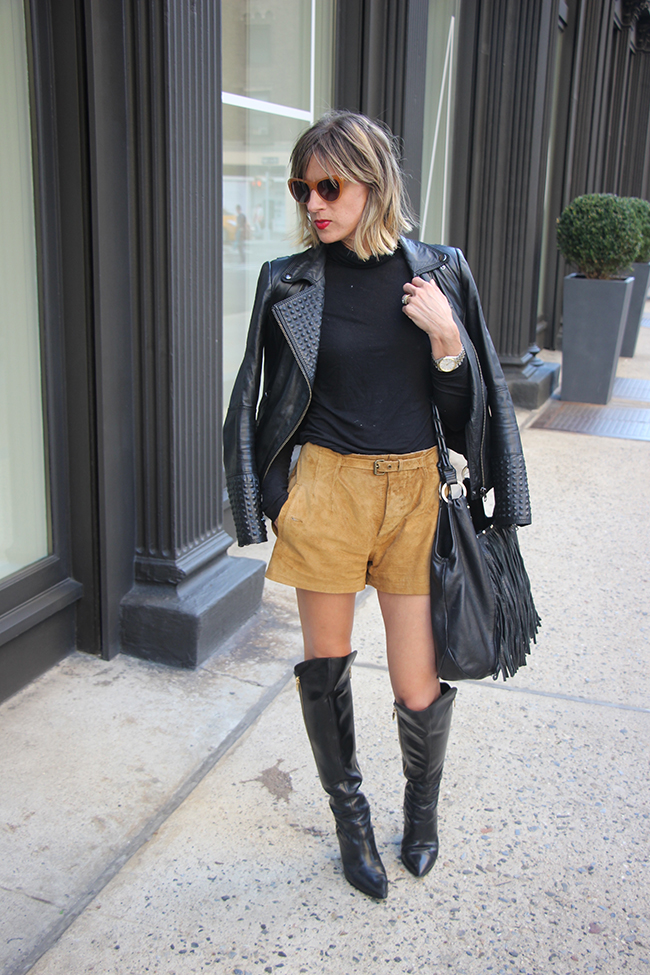 Leather jacket and suede shorts