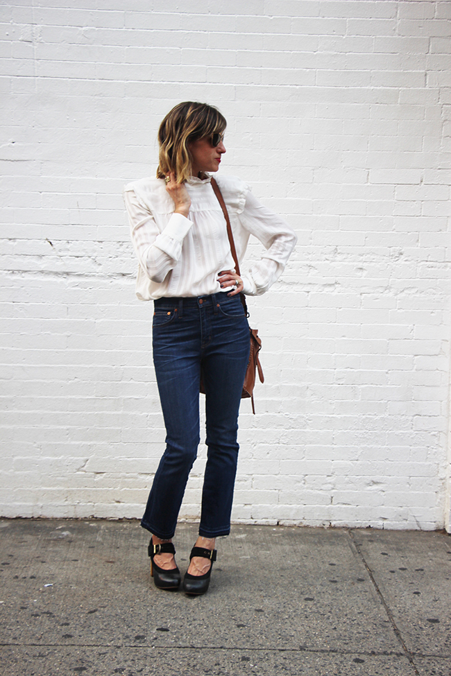 ruffled blouse and raw hem denim