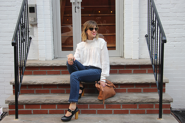 ruffled blouse and mary janes