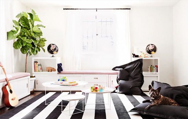 black and white playroom