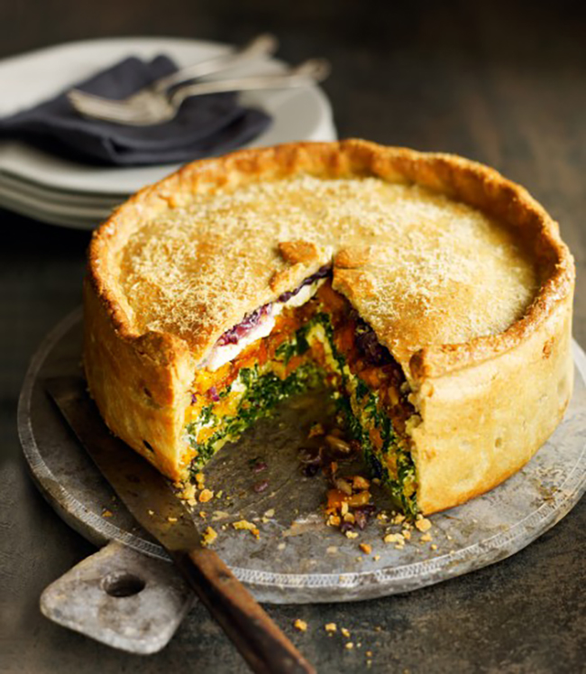 Butternut Squash Spinach and Goat Cheese Pie