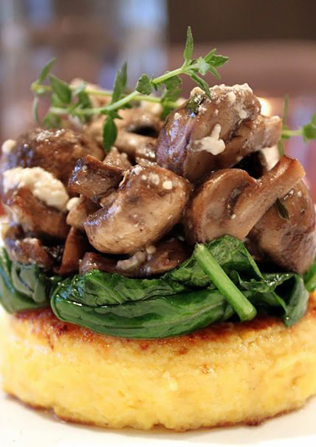 Polenta with Wilted Spinach and Roasted Mushrooms