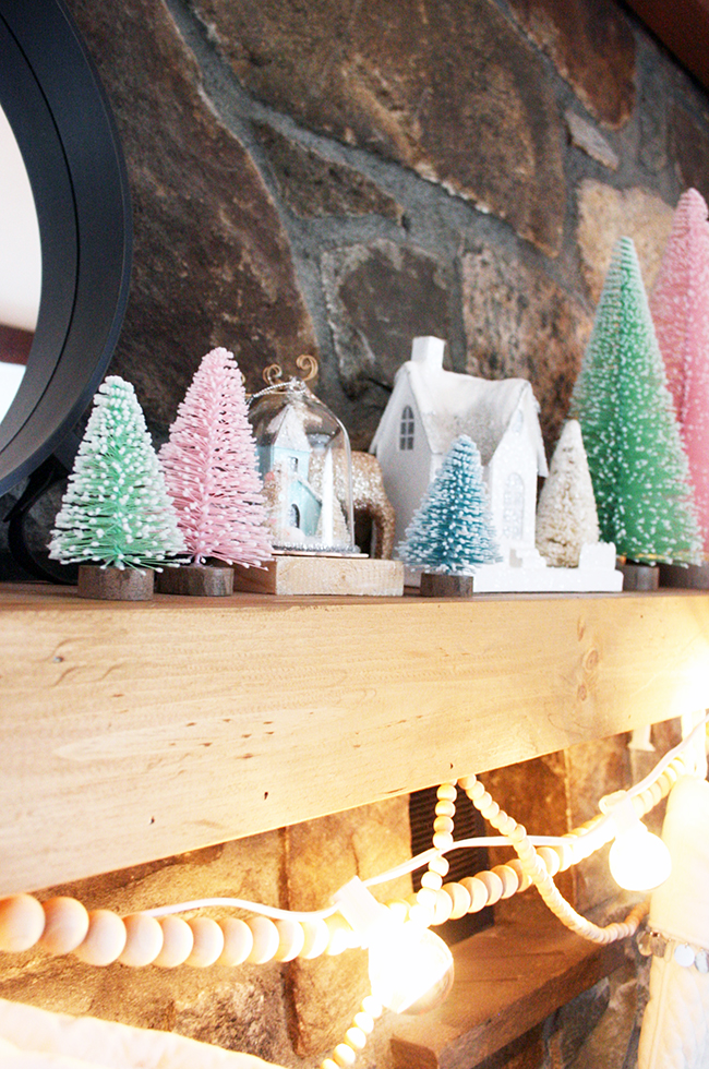 Bottle Brush Mantel Decor