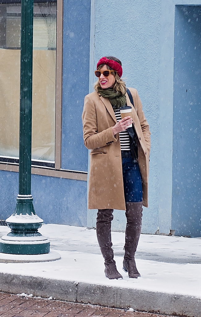 layered camel coat