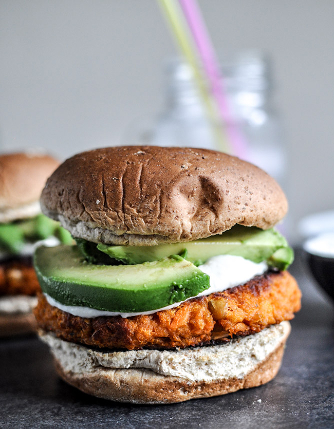 roasted sweet potato burger