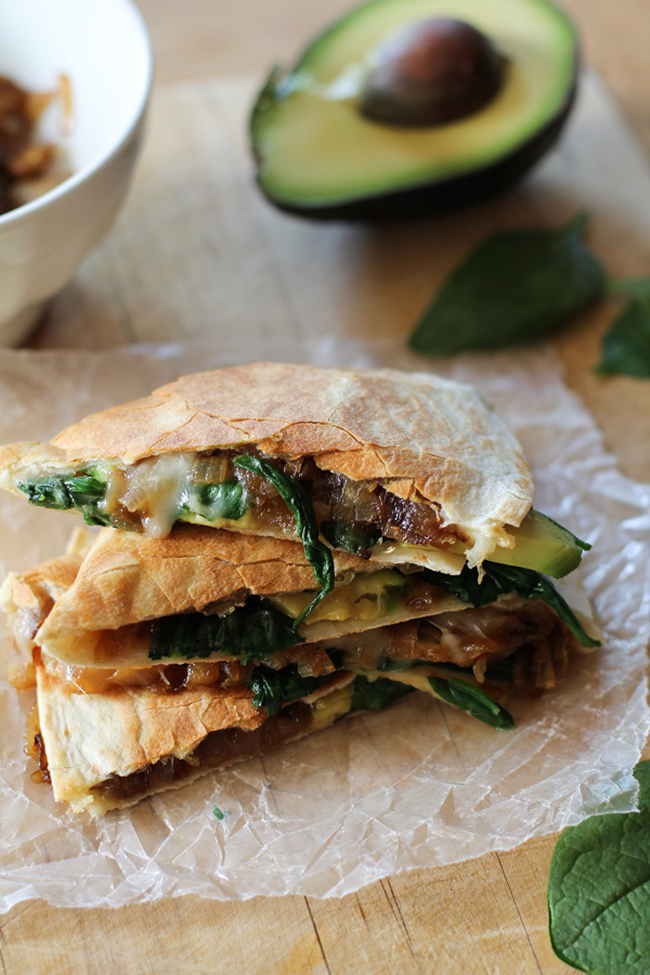 Caramelized Onion, Spinach and Avocado Quesadillas