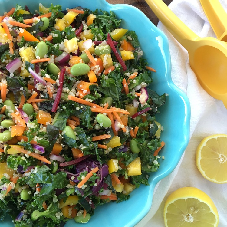 Massaged Kale and Quinoa Salad by Clean Eats & Treats