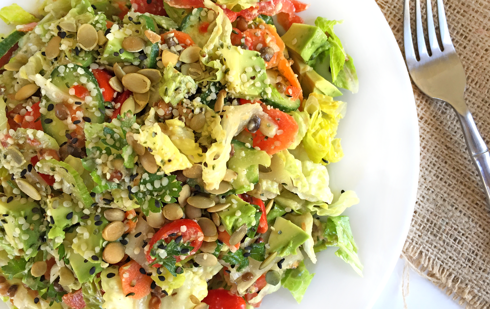 30 Day Healthy Salad Challenge Lentil Avocado with Mixed Seeds Salad under 400 Calories. From Total Wellness Resource Center, California
