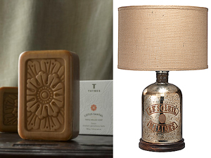 Lotus Santal triple-milled soap by Thymes . Le Soleil lamp by the Jamie Young Company
