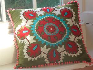 hand embroidered Kashmiri cushions by Nkuku