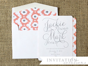 jackie + mark . ikat pattern save the date