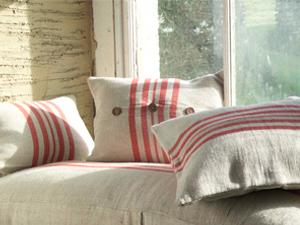 rustic linen cushions by Nkuku