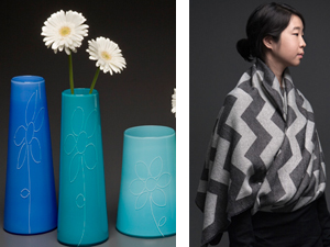 hand blown glass flower vases from Two Tone Studios . chevron jacquard shawl by String Theory