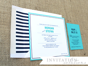 "morgan + stefan . rehearsal dinner invitation with ""pop"" envelope liner by checkerboard"