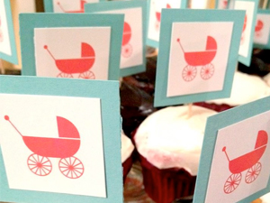 bassinet cupcake toppers