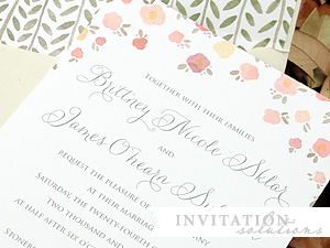 hand painted watercolor invitation detail