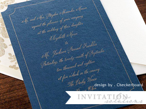 Checkerboard Timeless invitation in navy and gold