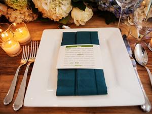 wedding menus wrapped around napkin