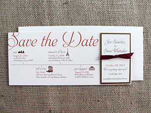 timeline save the date with ribbon and magnet