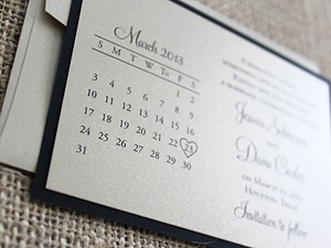 calendar save the date on metallic paper