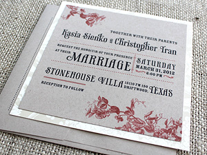 vintage square invitation on kraft paper with floral accents